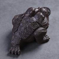 Lucky Clay Golden Toad Tea Ornaments Home Tripod Golden Toad Tea Set Accessories|Guardanapos p/ chá|Casa e Jardim -