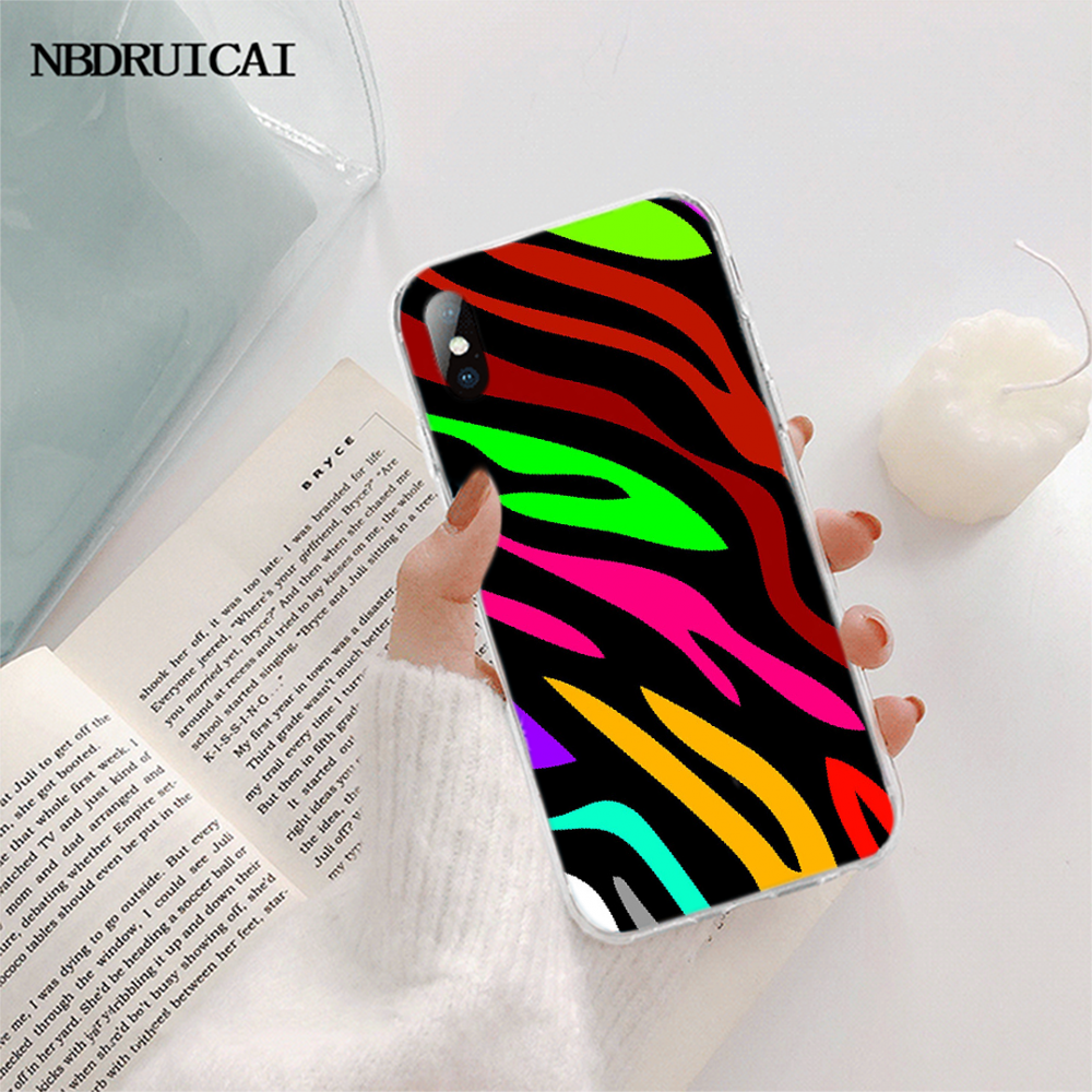 NBDRUICAI Pastel Teal Tiger neon Zebra Printing Phone Case cover Shell for iPhone 11 pro XS MAX 8 7 6 6S Plus X 5S SE XR cover