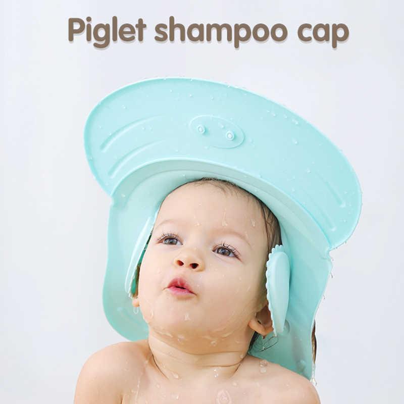 Blue Adjustable Shower Cap Kids Infants Soft Protection Funny Safety Visor Cap for Toddler Children Baby Shower Cap Silicone Shower Visor Bathing Hat