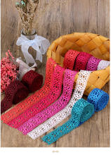 2Meter Colorful Acrylic Yarn Hollow Lace Trims Edge Colthing DIY Sewing Crafts 3.5cm Width