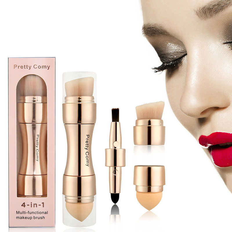 Brochas base ceja delineador de ojos rubor polvo cosmético corrector profesional 4 en 1 pinceles de maquillaje