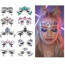 Стразы для лица, Временные татуировки, праздничные вечерние украшения для глаз, блестящие наклейки, временные татуировки с изображением русалки