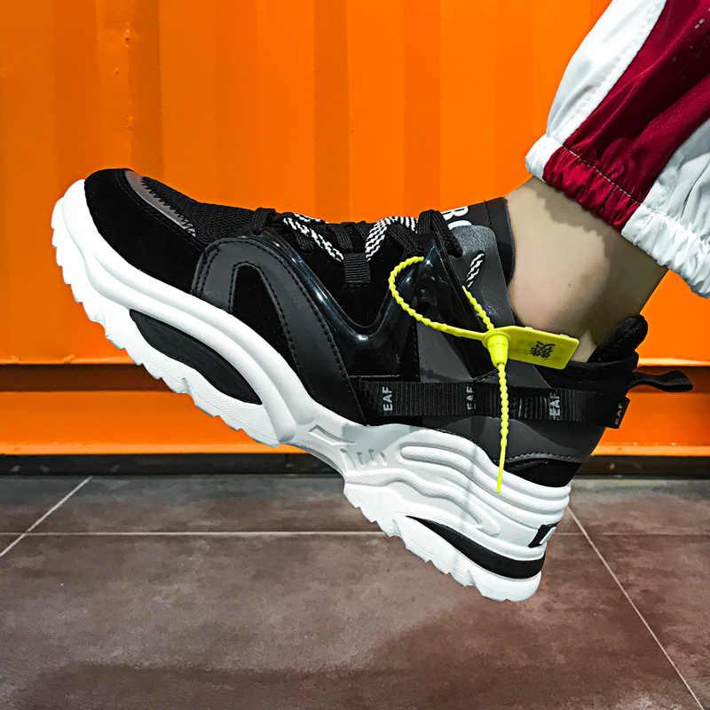 Şık kadın rahat ayakkabılar severler deri baba platformu tıknaz ayakkabı Harajuku düz kalın taban Tenis kama beyaz sepet yürüyüş