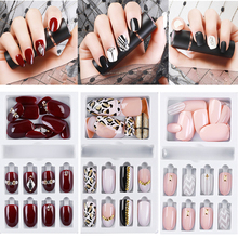 24pcs Fake Nails with Designed Crystal False Nail Artificial Tips Set for Decorated Short Press On Nails Art Fake Extension Tips