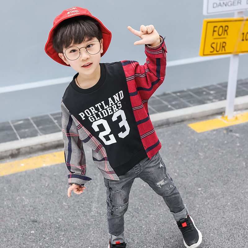 BOY'S T-shirt 2019 Spring And Autumn New Style Korean-style Children Mixed Colors Casual Sweatshirt Kids Handsome Long-sleeve Pu