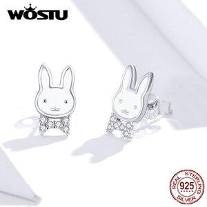Image 2 - WOSTU pendientes de conejo de animales para mujer y niña, de Plata de Ley 925, joyería de plata para Boda nupcial