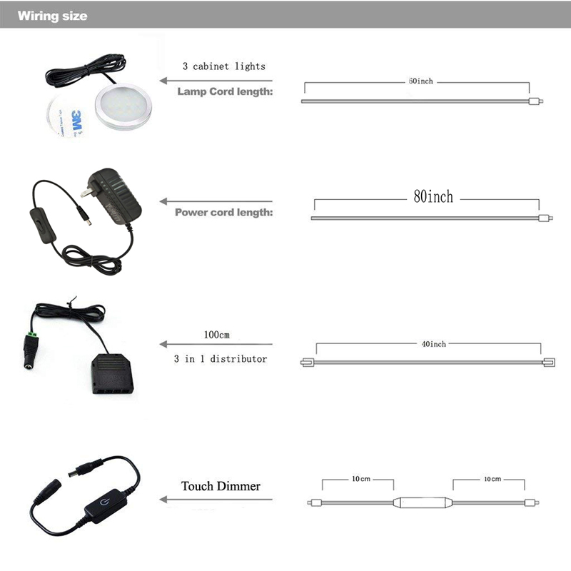 power supply length for 3 touch led under cabinet light kit