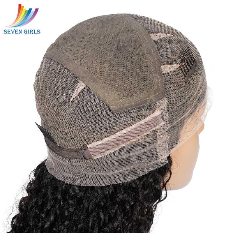 Sevengirls бесклеевой глубокий кудрявый влажный и волнистый полный парик шнурка предварительно выщипанный перуанский высшего качества девственные человеческие волосы парик с детскими волосами