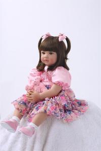 Image 4 - Muñecas de juguete Reborn de silicona de 24 pulgadas para niñas, Niñas de 60cm, princesas como Alive Bebe, Brinquedos, regalo de cumpleaños de colección limitada