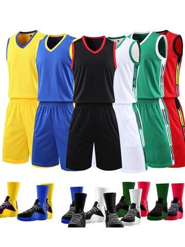 Shorts para Mulheres dos Homens sem Mangas Uniforme da Equipe de Basquete Fato de Treino Branco Basketball Jersey Treino Sportswear Personalizado & Mod. 175358