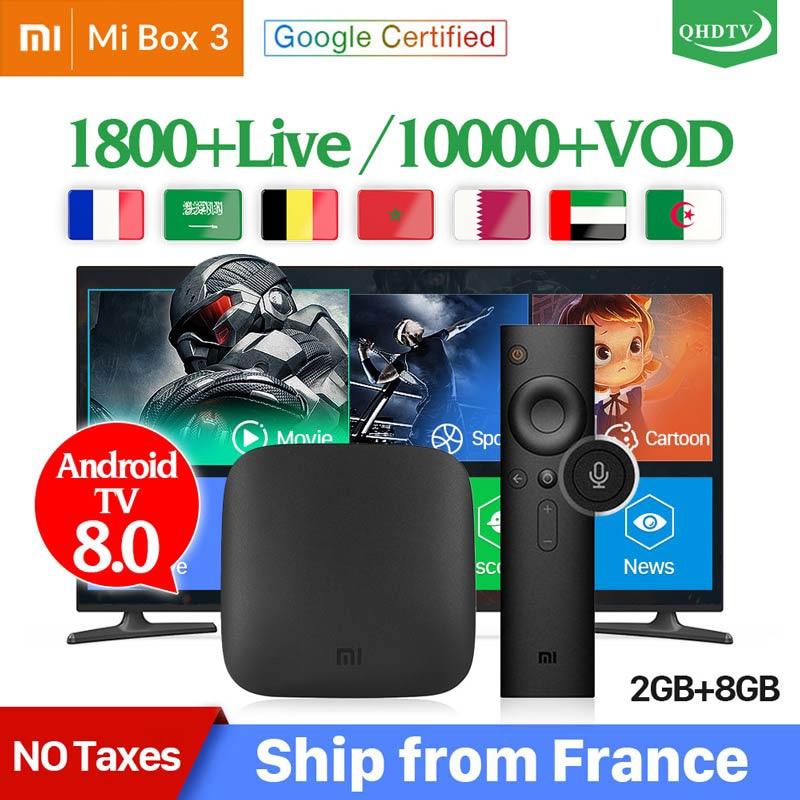 Xiaomi MI BOX 3 IPTV France Arabic Android TV 8.0 WIFI BT 4K H.265 QHDTV IPTV Box 1 Year IPTV Belgium Dutch French IP TV Xiaomi