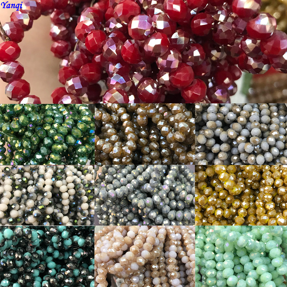 10 Strands Faceted Rondelle Crystal Glass Craft Finding Loose Spacer Beads 6mm