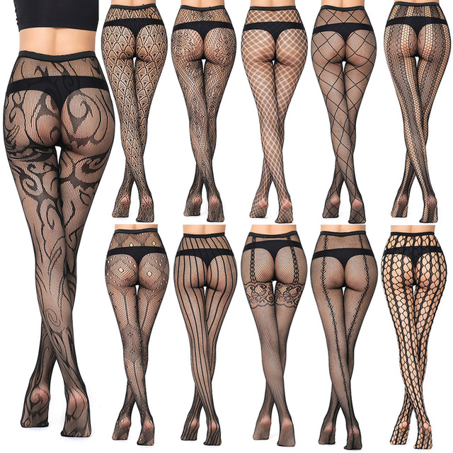 Sexy Fashion Ultrathin Women Pantyhose Hollow Solid Fishnet Tights Clothes For Women Black Tights Lace Sexy Lingerie