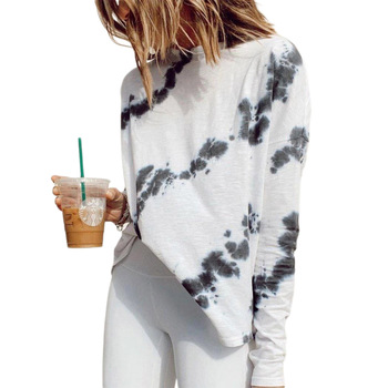Women Tie-dye Fashion Shirt Top, Round Neck Long Sleeve Casual Pullover Tops Blouses grey ripped details round neck long sleeves blouses
