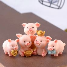 Fortune Pig Resin Miniature Crafts Year Cartoon Pendant Lucky Piggies Cake Topper Decorations DIY Meaty Micro-landscape Hot