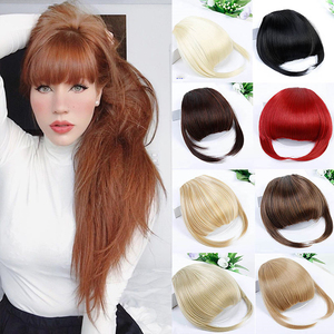 DIANQI Short Bangs Blonde Clip In Hair Bangs Heat Resistant Wig Synthetic Fringe Hair clips In Natural Hair Extension