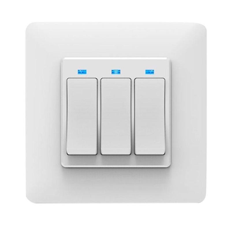 EU Plug 3 Gang WiFi Button Smart Light Switch Home APP Remote Voice Control