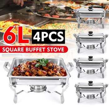 Estufa de calefacción cuadrada de Buffet de acero inoxidable de 6L, platos para frotar, cocinas para Buffet, catering, calentador de comida para fiestas, bandeja para servir de cena