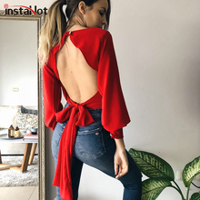 купить InstaHot Red Black Backless T-shirt Women Long Sleeve Hollow out Cotton tshirt Round Neck Autumn Casual 2019 Fashion Tee Top дешево