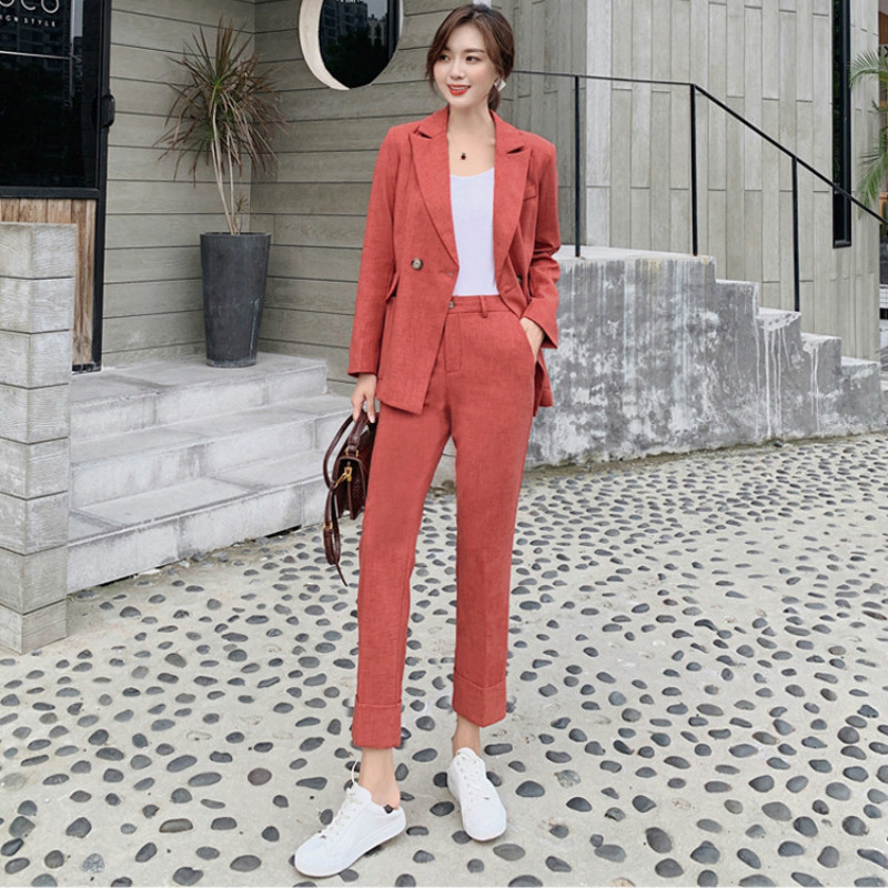 Fashion Slim Women's Suits Office Pants Set 2019 New Autumn Retro Full Sleeve Jacket Suit Female Casual Trousers Suit Two-piece