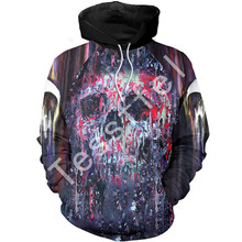 Tessffel skull art danger funk colorful MenWomen HipHop Sweatshirts/Hoodie Pullover Tracksuits Casual Crewneck fit fire Style-3