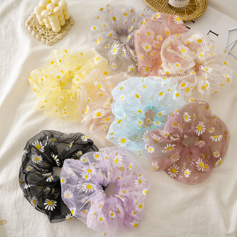 New Oversized Summer Daisy Floral Organza Scrunchie Hair Band Lovely Girl Headbands Bandanas Women's Hair Accessories