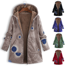 Floral Print Parkas Hooded Pocket Winter Jacket Women Zipper Warm Padded Coat Female Soft Casual Outwear