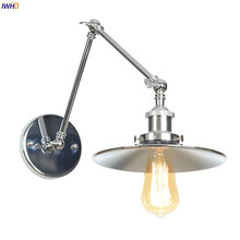 IWHD Silver Swing Long Arm LED Wall Light Fixtures Bedroom Stair Mirror Loft Industrial Decor Vintage Wall Lamp Sconce Edison