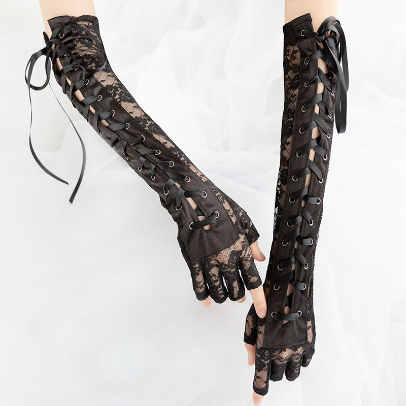 Gothic Steampunk Black Lace Up Fingerless Gloves  1