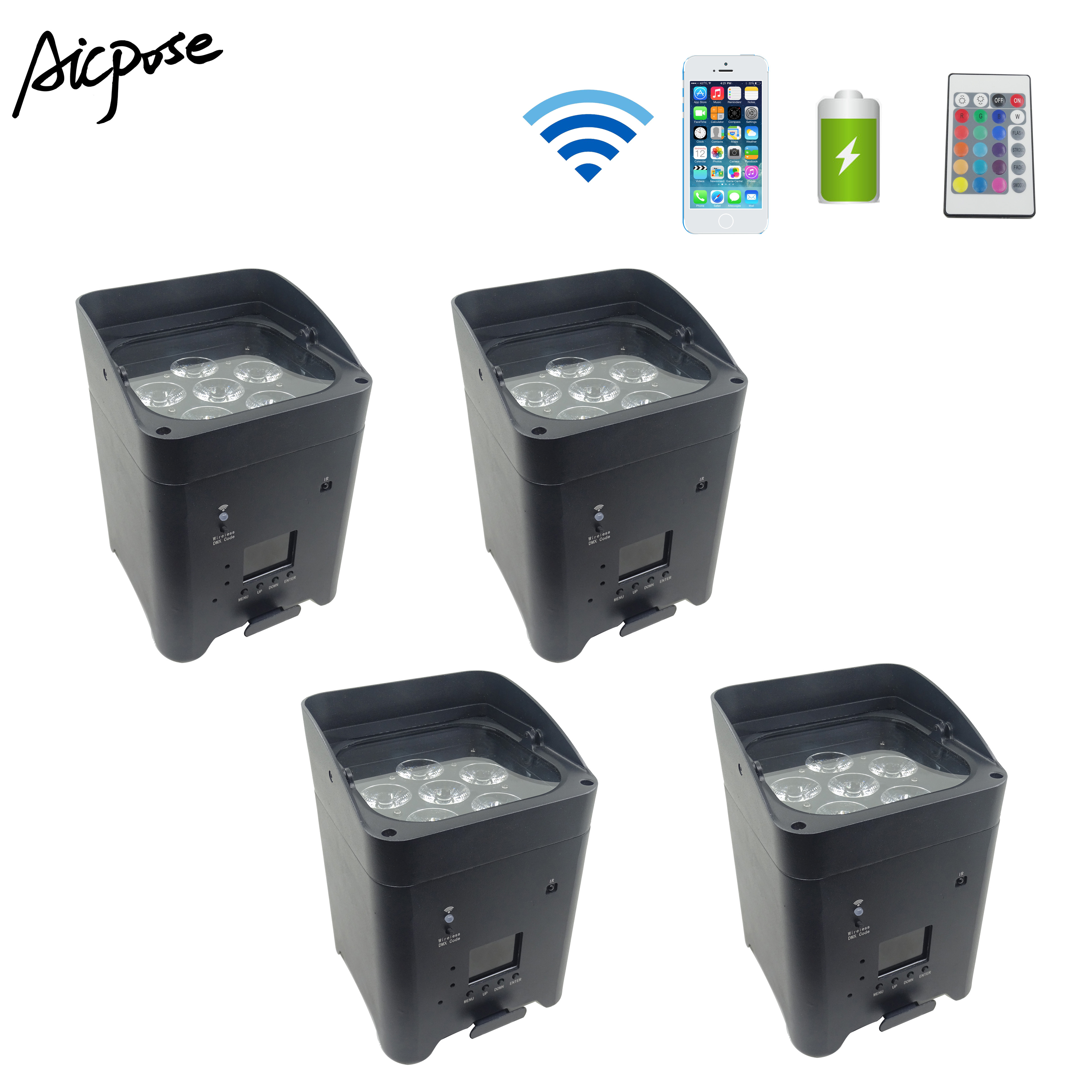 4pcs/lots 6*18w RGBWA UV Wireless Par Light Remote Control Battery Remote Wifi Control Outdoor Stage Lights Wedding Up Lights
