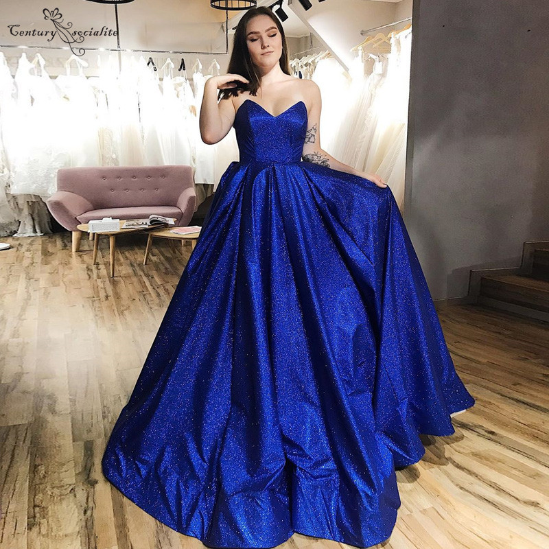 Royal Blue Shiny Evening Dresses Long Sweetheart Lace Up 2020 Simple Prom Party Dress Formal Gowns Vestido De Festa Cheap