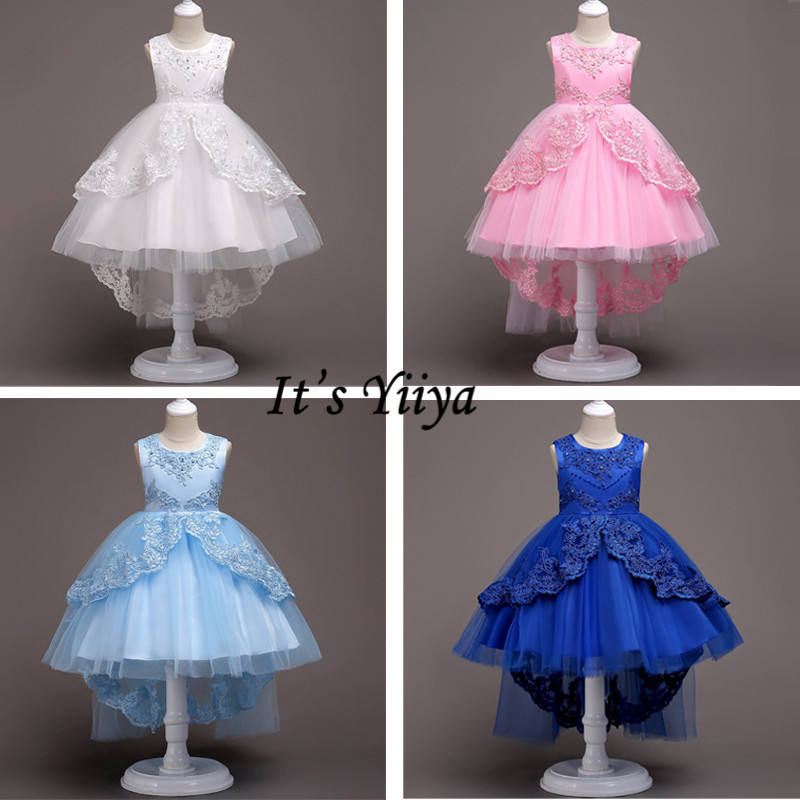 It's YiiYa   Flower     Girl     Dress   Weding O-neck Bow Lace   Dresses   For   Girls   Elegant Sleeveless White Blue Pink Kid Party Gowns 584