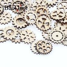 50 pçs/lote scrapbook de madeira natural 25mm padrão de engrenagem redonda enigma educacional das crianças diy charme decoração para casa artesanato