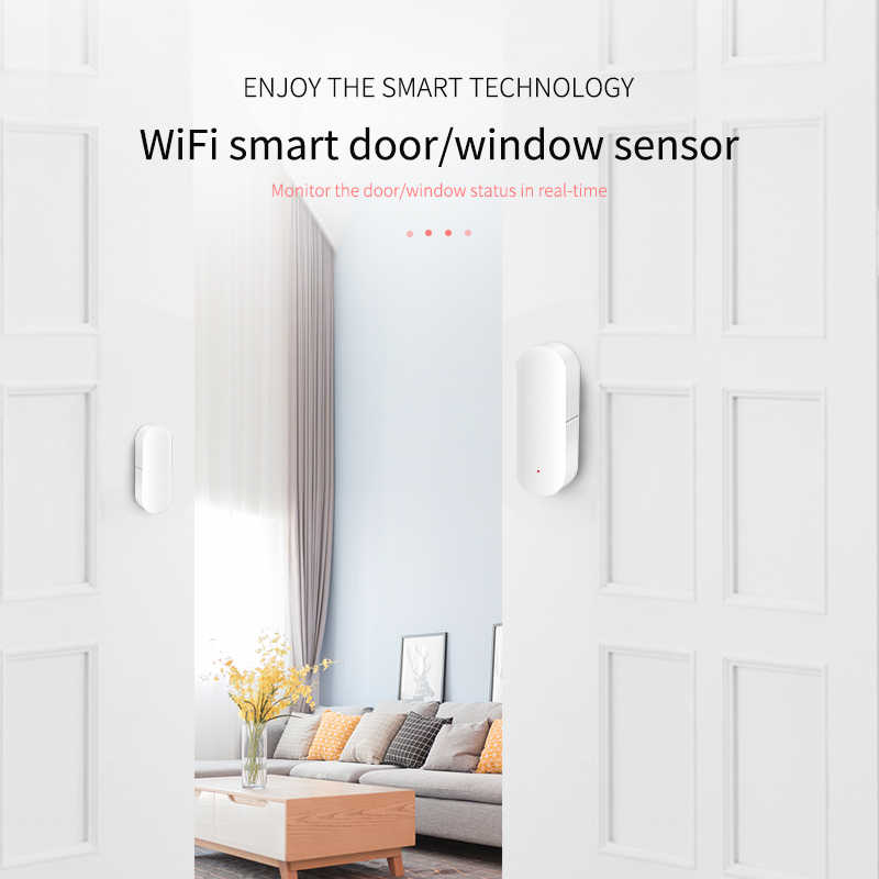 Inteligentne wifi czujnik drzwi drzwi okno otwarty detektor bezpieczeństwo w domu powiadomienia powiadomienia Tuya APP kompatybilny z Alexa Google Home