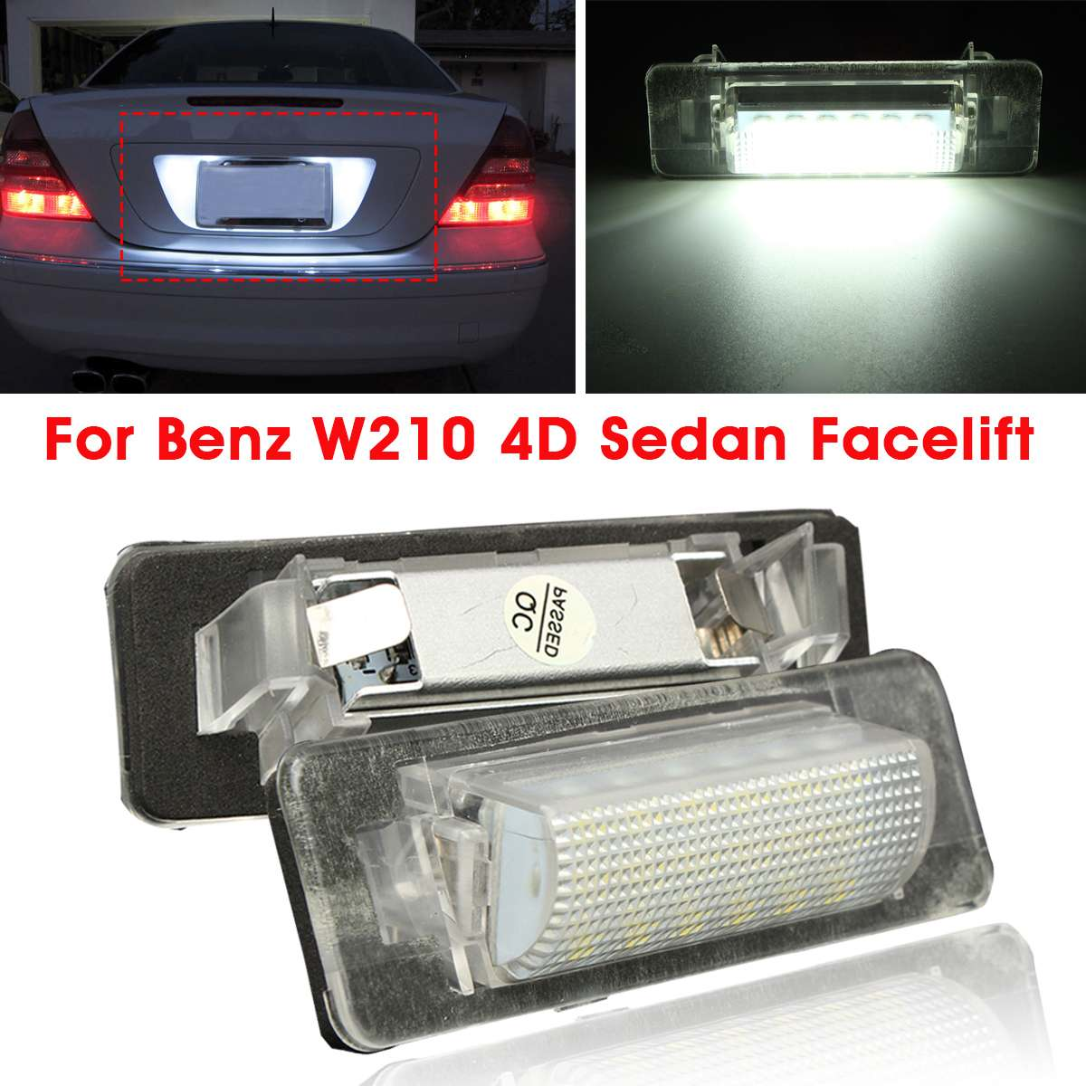 2pcs Error Free 18 LED Car Number License Plate Light For <font><b>Mercedes</b></font> <font><b>Benz</b></font> W210 E300 E320 E420 W202 4D <font><b>C230</b></font> C280 C43 AMG image