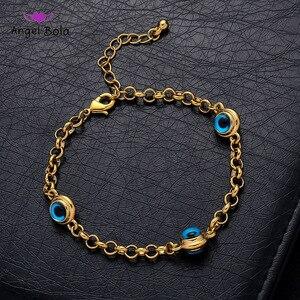 Image 1 - Blue Evil Eye Crystal Charm Allah Bracelets for Women Muslim Jewelry 3 Turkish Blue Eye Bracelet Gold Color Plated Never Faded