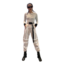 New Womens Pants Street Hipsters Hot Sale Reflective Stitching Harem Pantalones Mujer Cintura Alta Women Clothes