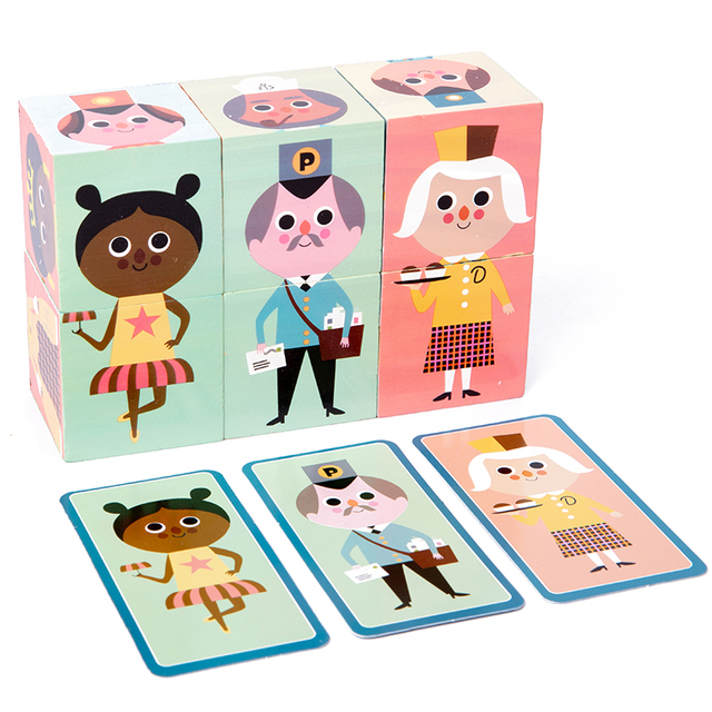 Baby toy 6 pcs Wooden preschool 3D Jigsaw Puzzle Cubes Ealy Learning Education Montessori Wooden toys