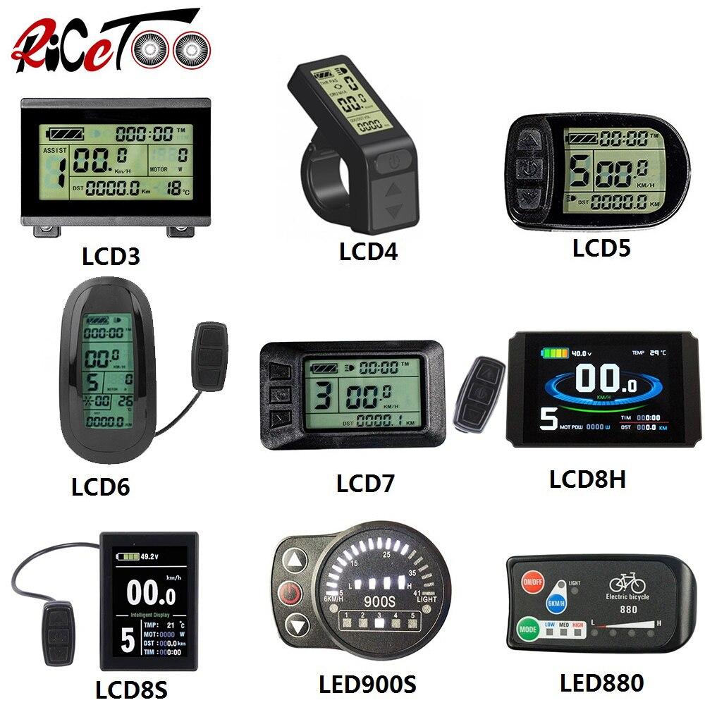 RICETOO חשמלי אופניים KT תצוגת LCD3/LCD3U/LCD4/LCD5/LCD6/LCD6U/LCD7U/LCD8H/LCD8S/LED880/LED900S 36V/48V/72V עבור e-אופניים