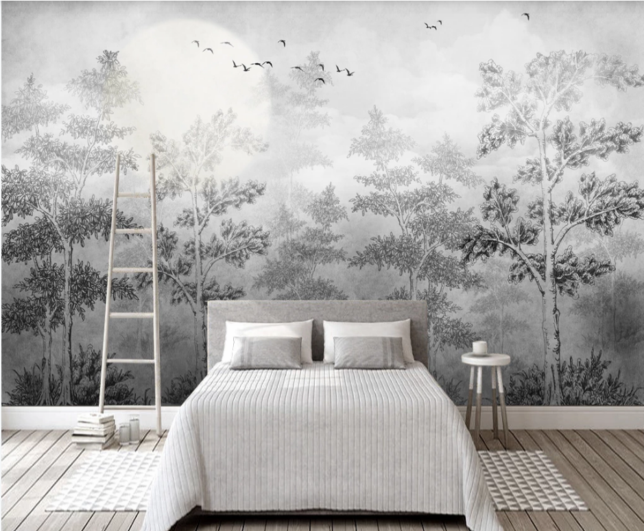 Custom Wallpaper Mural Photo Wall Nordic Hd Hand Painted Forest Tree Art Living Room Background Wall Painting