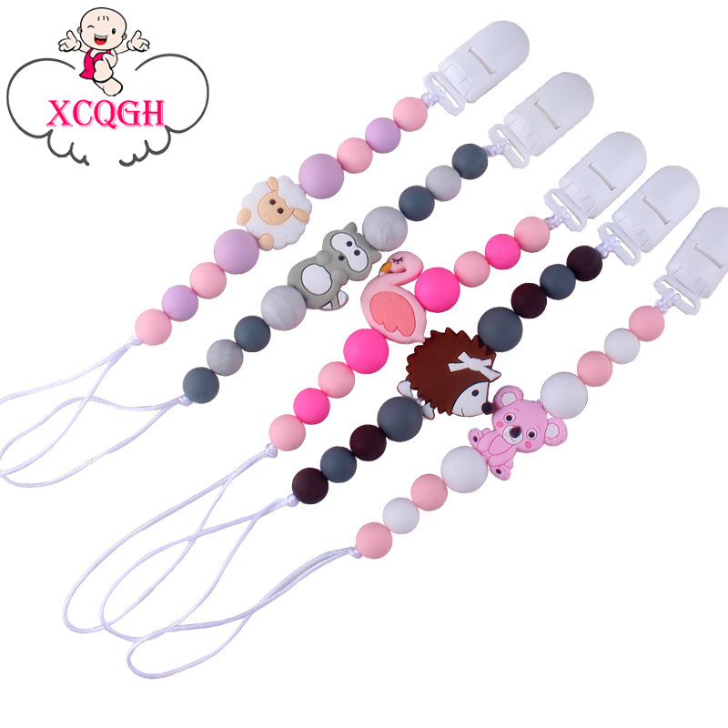 XCQGH Baby Pacifier Chain Silicone Loose Beads Variety Animal Cartoon Silicone Molar Teether Toy Pacifier Chain Clip