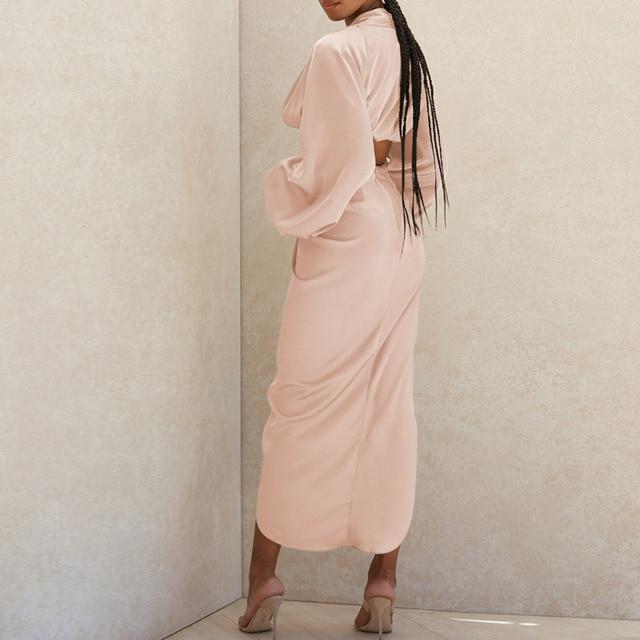 Tobinoone Sexy Long Sleeve Autumn Party Dress Women Satin V Neck High Slit Long Dress Elegant Bodycon Pleated Dresses 2020 4
