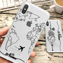 World Map Travel Plans Clear Soft Phone Case For iPhone For iPhone X XS Max 7 8 6 Plus XR Cases DIY Custom Name Line Phone Cover цены