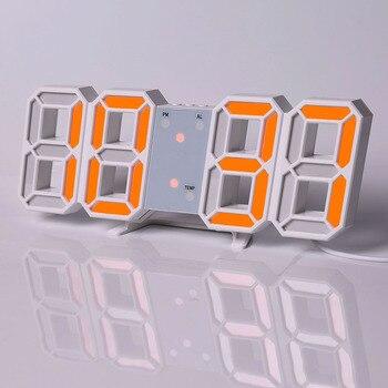 Led Digital Wall Clock Modern Design Watch Clocks 3D Living Room Decor Table  Alarm Nightlight Luminous Desktop 18
