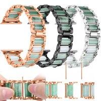 Correa de lujo para Apple Watch Se 6, 5, 4, 44mm, 40mm, 38mm y 42mm, pulsera ajustable de Metal Esmeralda