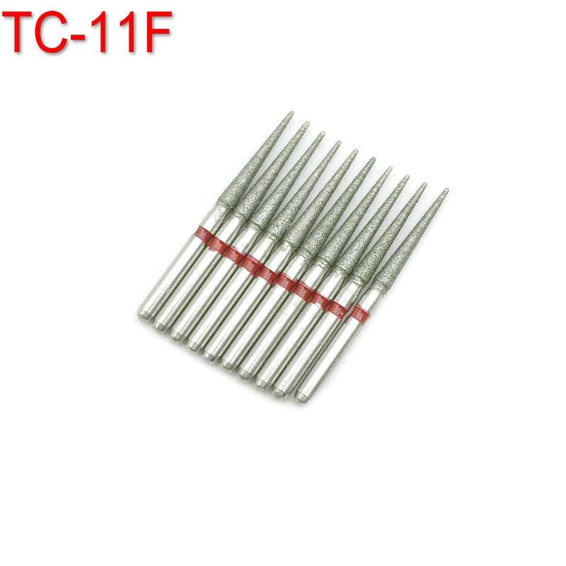 10pcs FG Dental Diamond Burs Drill Dia-burs For High Speed Handpiece Fine 1.6mm Dentist Tools TC-11F