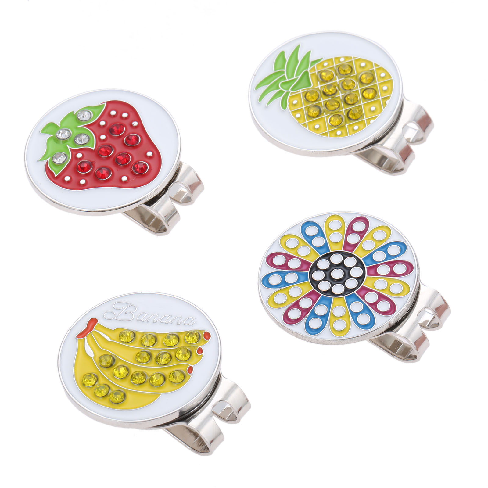 1Pc Zinc Alloy Bling Rhinestone Flower Fruit Pattern Golf Ball Aiming Marker Alignment Tool & Golf Hat Clip Decoration Cap Clips