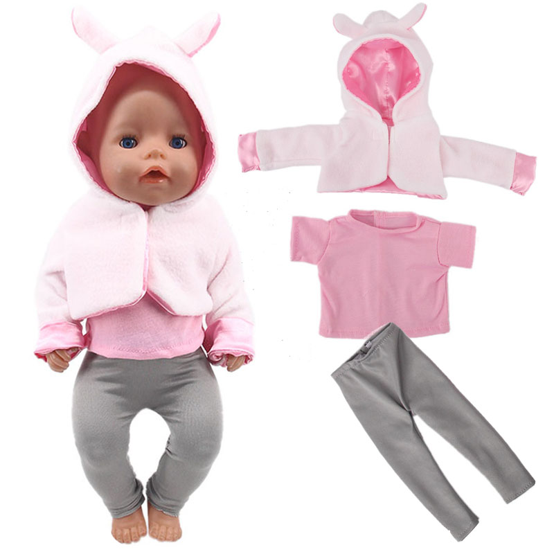 Doll Clothes 3Pcs/Set Rabbit Coat+T-shirt/+Leggings For 18 Inch American&43Cm Baby New Born Doll Generation Christmas Girl`s Toy