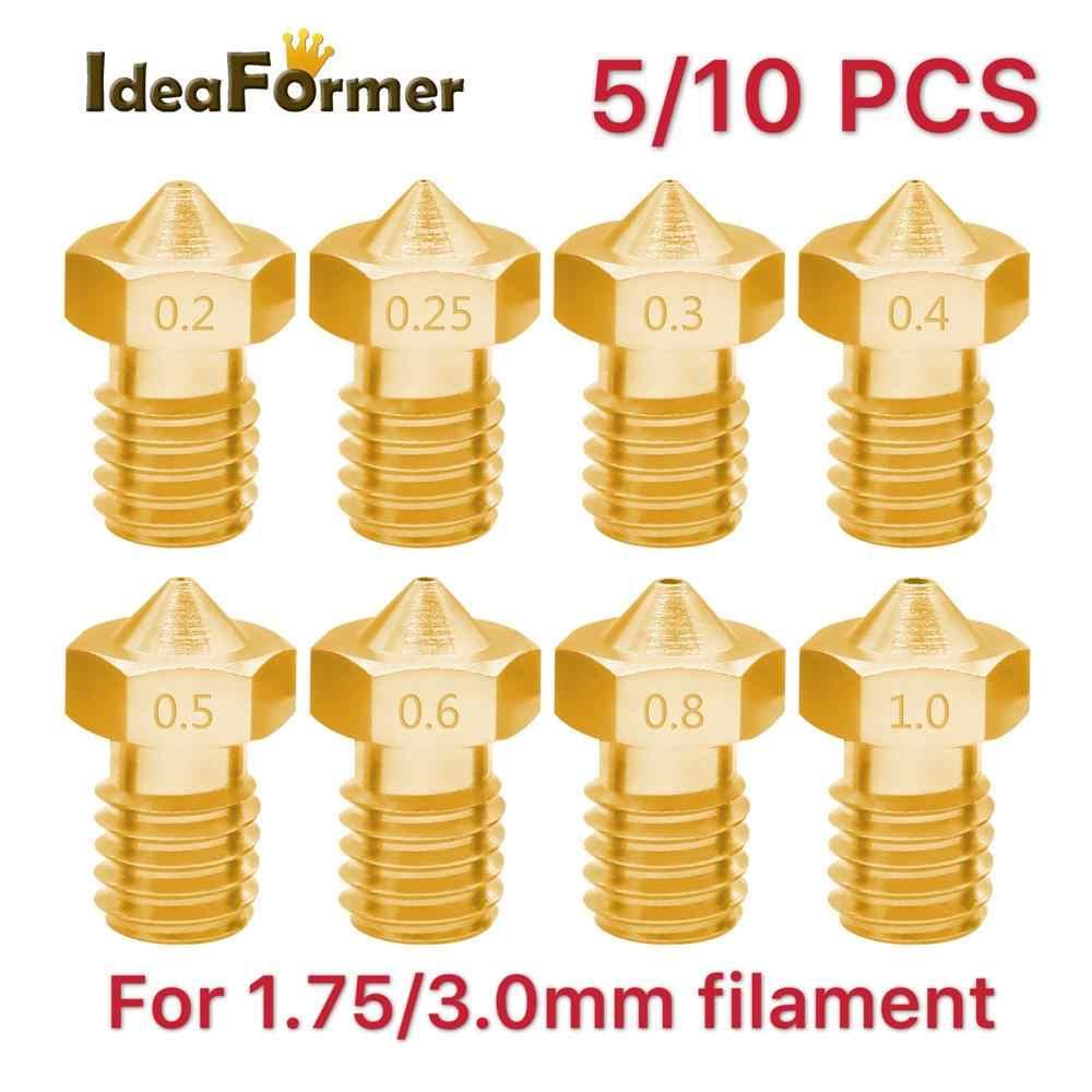 5/10pcs 3D Printer V6 M6 Threaded brass Nozzle 0.2/0.25 0.3/0.4/0.5/0.6/1.0mm for 1.75/3.0mm filament E3D V5 V6 Hotend Extruder