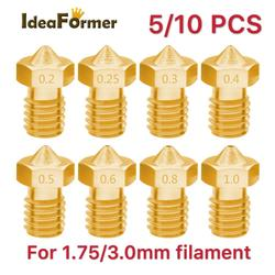 5/10pcs 3D Printer V6 M6 Threaded brass Nozzle 0.2/0.25 0.3/0.4/0.5/0.6/1.0mm for 1.75/3.0mm filament E3D V5 V6 Hotend Extruder